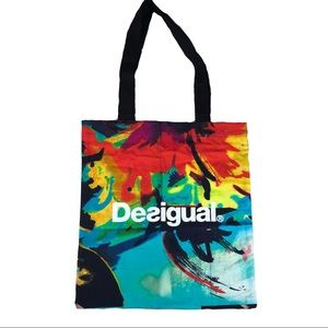 Desigual Colorful Canvas Shopping Tote Bag